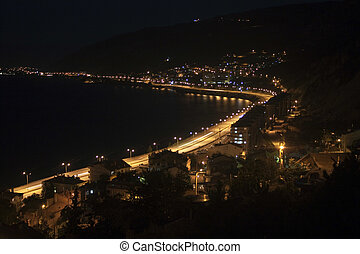 Egirdir town with Egirdir lake at a night, Turkey