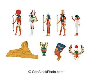 egito, antiga, símbolos, deuses, e, deusa, jogo, vetorial, ilustração
