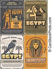egito antigo, deuses, falcão, coptic, crucifixos, pássaro