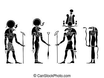 egito, deuses, vetorial, antiga
