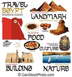 egito, elementos, viajando, infographic