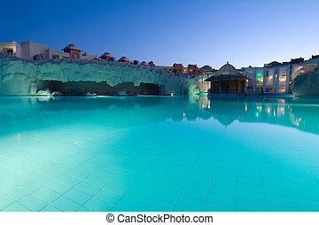 egito, evening., hotel, recurso, piscina, natação