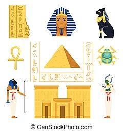 egito, jogo, egípcio, antiga, símbolos, coloridos, vetorial, ilustrações