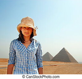 egito, menina adolescente, turista
