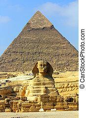egito, piramide, e, esfinge