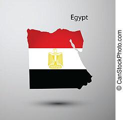 egitto, mappa, bandiera