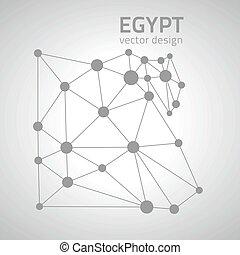 egitto, mappa, vettore, triangolo, prospettiva