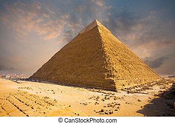 egitto, piramide, cielo, infocato, giza