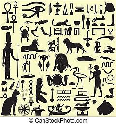 egiziano, simboli, 1, set, segni