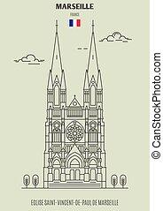 Eglise Saint-Vincent-de-Paul de Marseille, France. Landmark icon