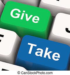 egoísta, generoso, dar, teclas, mostrar, tomar