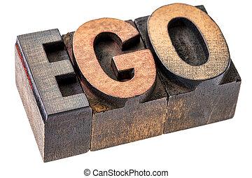 ego, legno, parola, letterpress, tipo