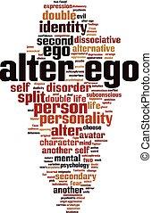 ego, woord, veranderen, wolk