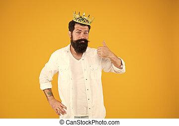 Egoist selfish man. Bearded man in white clothes. Sense of ...