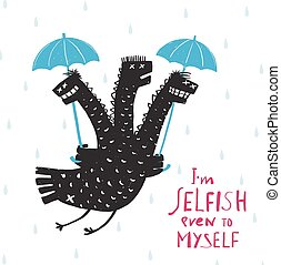egoista, ombrello, pioggia, drago, disegno, stampa, disegnato, comico, mano, ruvido