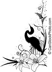 egret and lily - vector background with egret and lily for...