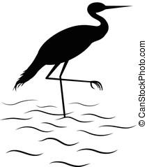 egret bird - vector, silhouette of common egret in shallow...