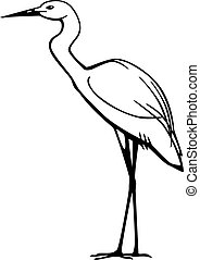 Egret - vector line drawing of a snowy egret