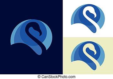 Egret head logo sign symbol in abstract circle, Bird logo design concept