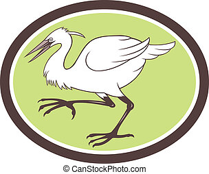 Egret Heron Crane Walking Cartoon - Illustration of a egret...