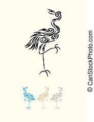Egret - Heron - Heron-Egret, art vector decoration.