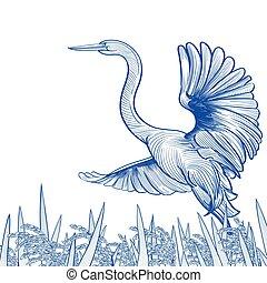 Egret in a Rice Field