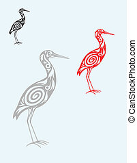Egret ornate art vector design