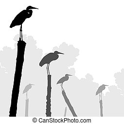 Egret perches - Editable vector illustration of egret...