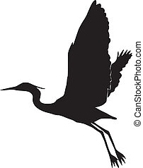 egret, silhouette