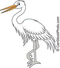 Egret - Vector illustration of a white egret, on a white...