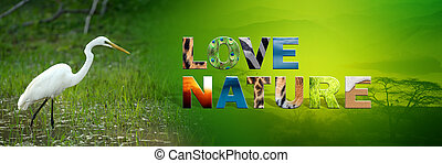 Egret with text Love Nature - Banner with egret and text...