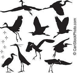 egrets, シルエット, イラスト