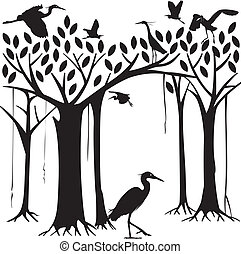 Egrets and banyan tree forest in Silhouette illustration
