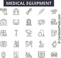 eguipment, lineáris, állhatatos, orvosi icons, ábra, fogalom, vektor, egyenes, cégtábla, áttekintés