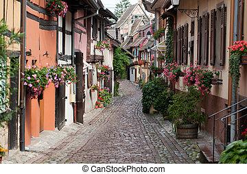 eguisheim, medeltida, half-timbered, väg, frankrike, berömd,...
