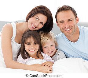 együtt, bájos, család, ülés