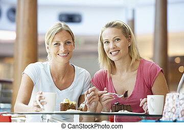 együtt, ebédel, fedett sétány, női, barátok, birtoklás