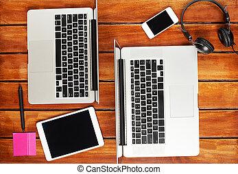 együtt, emberek, dolgozó, laptops