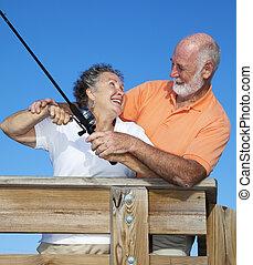 együtt, halászat, párosít, idősebb ember