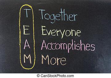 együtt, több, accomplishes, rajz, kréta, -, team:, everyone