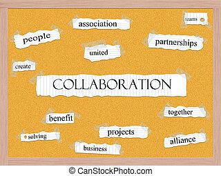együttműködés, corkboard, szó, fogalom