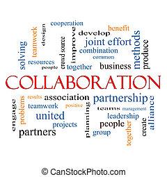 együttműködés, fogalom, szó, felhő