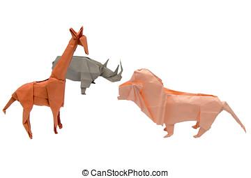 egy, állhatatos, közül, origami, állatok