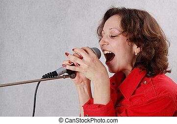 egy, éneklés, nő