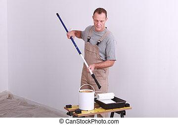 egy, épület szobafestő, dolgozó