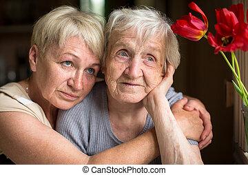egy, öregedő woman, ülés