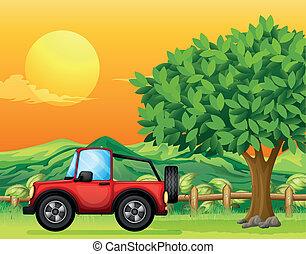egy, autó, elmenő, -ban, a, bridzs