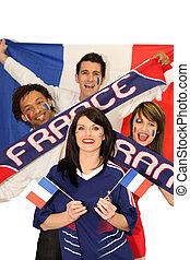 egy, baráti társaság, támogató, a, francia, foci sportcsapat