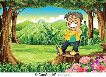 egy, boldog, fiatalember, van fenti, a, csikk, -ban, a, erdő