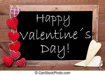 egy, chalkbord, piros sárga, piros, boldog, valentines nap